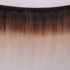 Soul Lady Ombre 1b/4/27 Straight Hair 4 Bundles Indian Remy Hair With Lace Closure