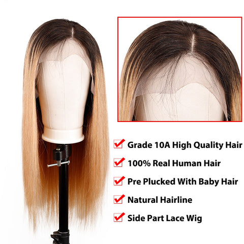 Image of Soul Lady 180% Density 1B/27 Ombre Indian Remy 13x4 HD Straight Lace Frontal Wig