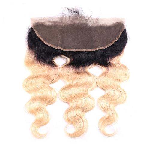 Image of ombre blonde 13x4 lace frontal boday wave