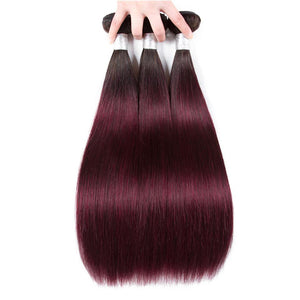 1b/burgundy ombre Malaysian hair straight