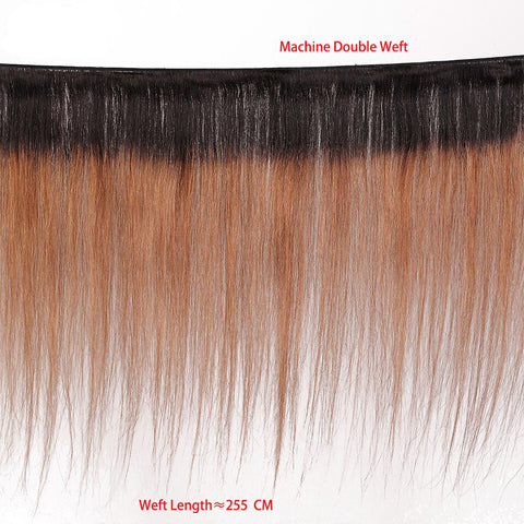 Image of Ombre 1B/30 Brazilian Straight Hair Weave Bundles with 13x4 Lace Frontal