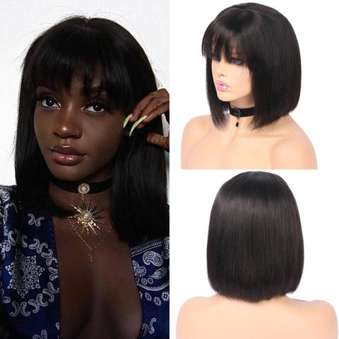 Image of 150% Density 13x4 Brazilian Short bob lace wig human hair with bangs