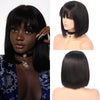 150% Density 13x4 Brazilian Short bob lace wig human hair with bangs