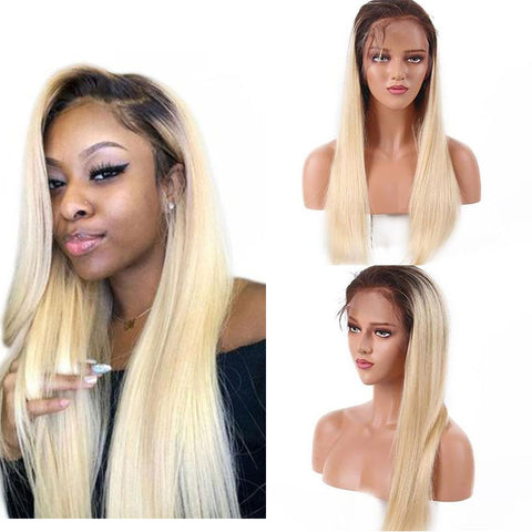 Ombre blonde long straight 13x4 lace front wig virgin human hair