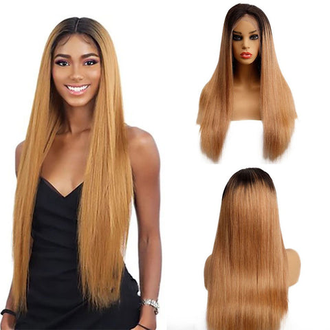 Image of Ombre Brown 1B/27 Brazilian 13x4 Lace Front Wig Straight Hair
