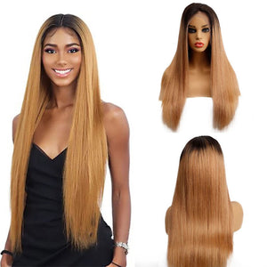 Ombre Brown 1B/27 Brazilian 13x4 Lace Front Wig Straight Hair