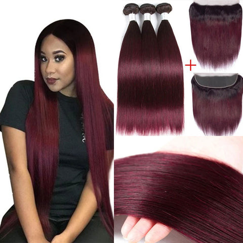 Image of Ombre burgundy Brazilian 3 bundles hair with 13x4 lace frontal human hair