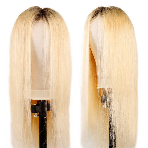 Image of blonde lace wig with dark roots
