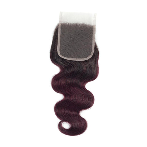 ombre burgundy Peruvian 4x4 lace closure body wave