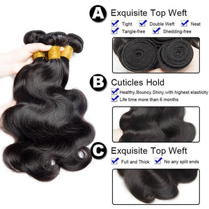 Soul Lady Brazilian 4x4 Lace Closure With 4 Bundles Body Wave Virgin Hair
