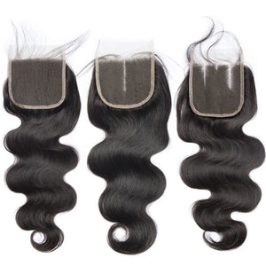 Soul Lady Indian Straight 4 Bundles With 4x4 Transparent Lace Closure Free Part Hair