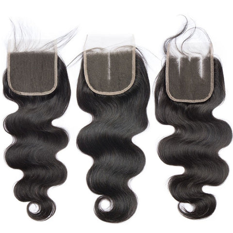 Image of Soul Lady Peruvian 4 Bundles Straight Human Hair With Free Part 4x4 Transparent Lace Closure
