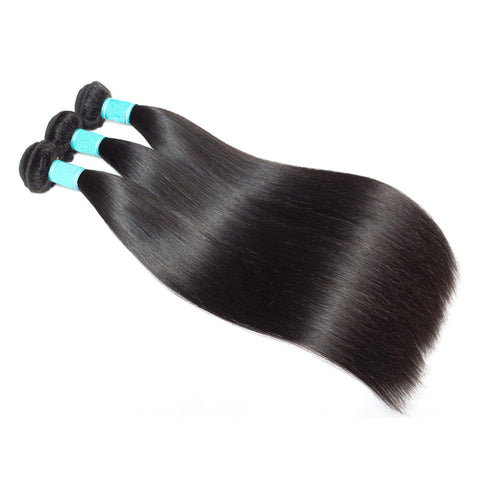 Straight Peruvian Hair Bundles with Closure 100% Human Hair Weave 3 Bundles with 5*5 Swiss Lace Closure