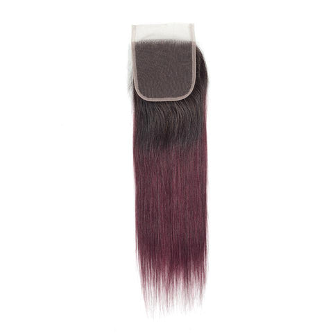Image of ombre 1b 99j lace closure 4x4