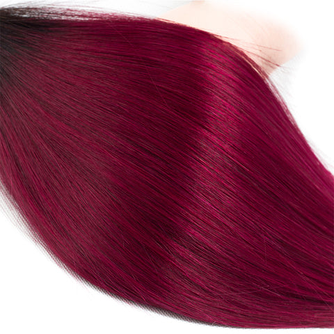 Image of Colored Bundles With Closure T1b/Burg Ombre Peruvian 4 Hair Bundles With Closure Straight Human Hair