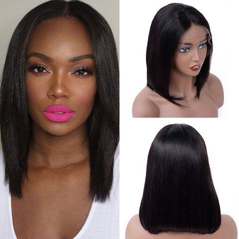 Soul Lady Brazilian 13x4 Short Straight Bob Human Hair Lace Wig 150% Density