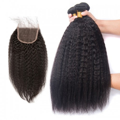 Image of Soul Lady Indian Kinky Straight Hair 4 Bundles With 4x4 Lace Closure On Sale