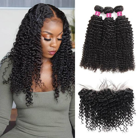 Image of Soul Lady Best New Kinky Curly 3 Bundles With 13x4 Lace Frontal Closure Vietnam Hair