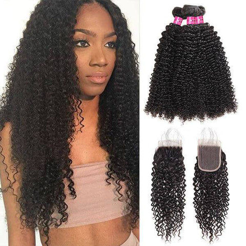 Image of Soul Lady Deep Curly 4x4 Lace Closure With 4 Bundles Peruvian Human Hair