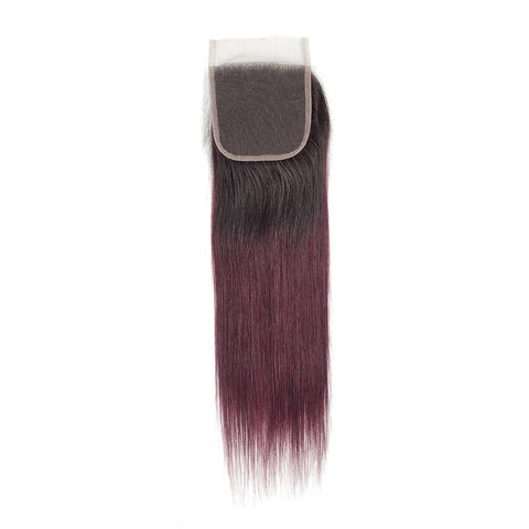 Image of ombre burgundy 4x4 lace closure