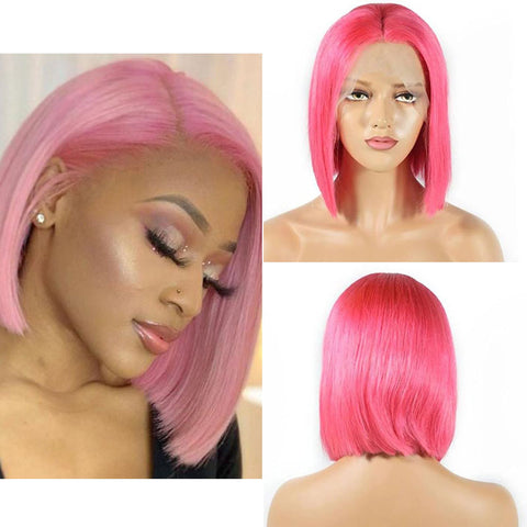 Image of Soul Lady 180% Density Brazilian Straight 13x4 Pink Bob Lace Front Wig