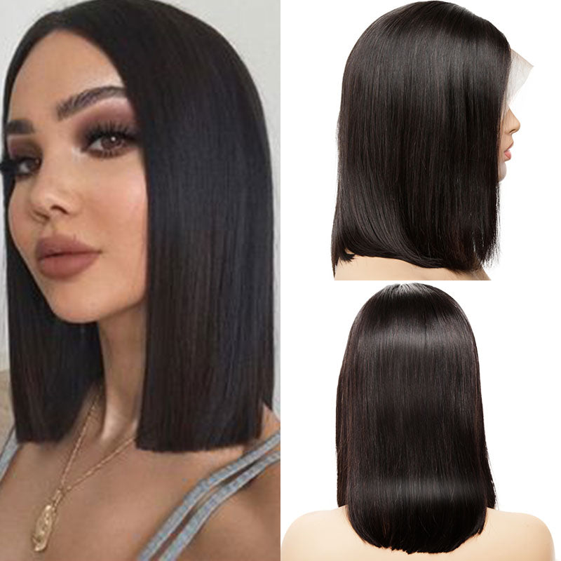 Short straight bob T part lace front wig virgin human hair for sale