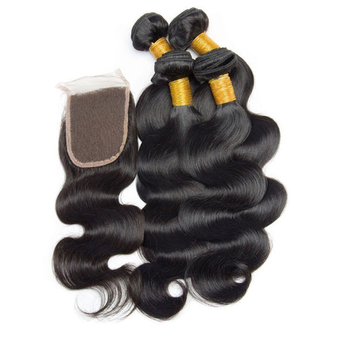 Image of Soul Lady Indian Body Wave Free Part 4x4 Transparent Lace Closure With 4 Bundles