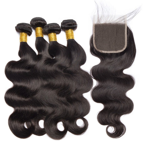 Image of Soul Lady Indian Straight 4 Bundles With 4x4 Transparent Lace Closure Free Part Hair