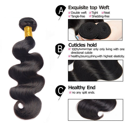 Image of Soul Lady Peruvian Body Wave  Virgin Hair 4 Bundles Human Hair Weave