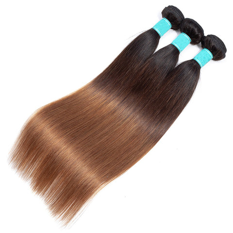 T1b/4/30 Ombre Bundles With Closure NonRemy Malaysian Straight Human Hair Bundles With Closure