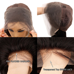 13x4 HD Transparent Glueless Lace Front Human Hair Wigs
