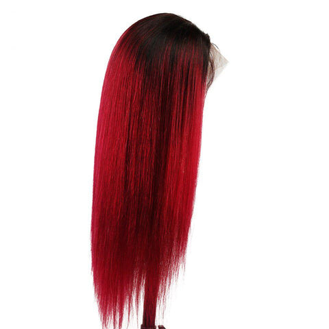 Ombre burgundy Brazilian lace front wigs middle part