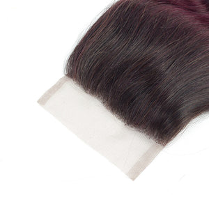 Ombre T1b/burgundy Malaysian Straight Hair Bundles With 4x4 Closure