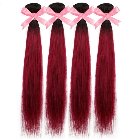Soul Lady Colored 4 Bundles With Closure T1b/Burg Ombre Peruvian Straight Human Hair