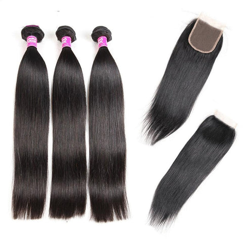 Image of 3 bundles Brazilian  straight virgin hair with 4x4 lace closure - soulladyhair