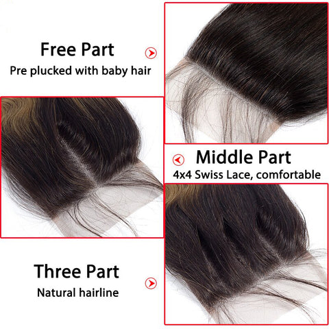 1b/4/27 Straight Hair Ombre 3 Tones Indian Remy Bundles With Closure 5Pcs/Lot