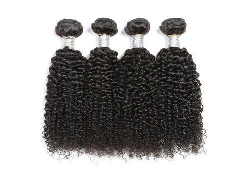 Image of Soul Lady Kinky Curly Human Hair 4 Bundles With Malaysian 4x4 Lace Closure