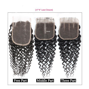 Soul Lady Peruvian Kinky Curly 4x4 Lace Closure With 4 Bundles