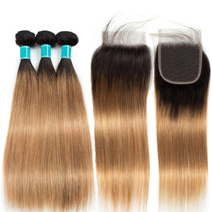 Ombre to Brown Peruvian Hair Extension Bundles With Closure Straight 1B/27
