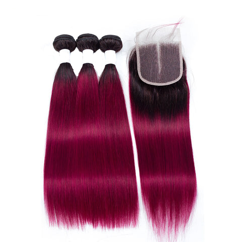 Malaysian Body Wave 4 Bundles With Closure T1b Red/Burg Color Non Remy 5Pcs/lot