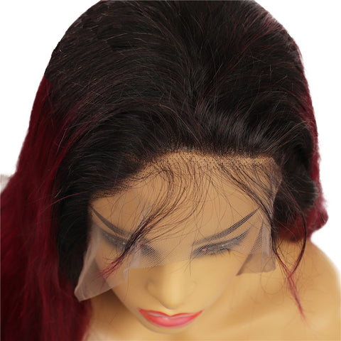 Image of Ombre Burgundy Brazilian Pre Plucked 13x4 lace Front Human Hair Wigs Middle Part