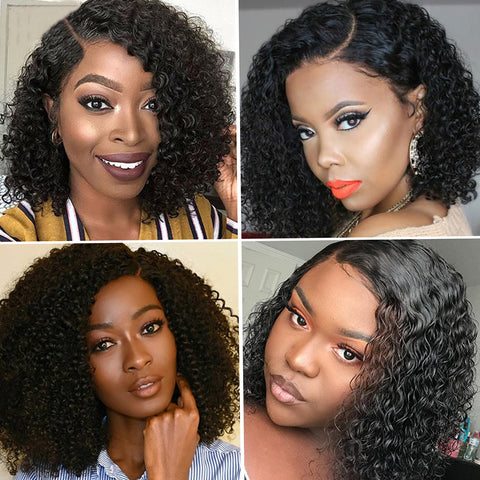 13*4 Kinky Curly Brazilian Remy Human Hair Short Bob T Part Lace Wig 150% Density