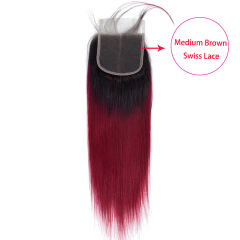 Image of Soul Lady Colored 4 Bundles With Closure T1b/Burg Ombre Peruvian Straight Human Hair