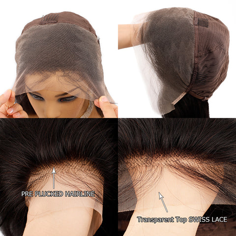 Transparent Lace Front Wig Long Curly Lace Frontal Peruvian Human Hair Wigs Remy  Lace Wig Pre Plucked
