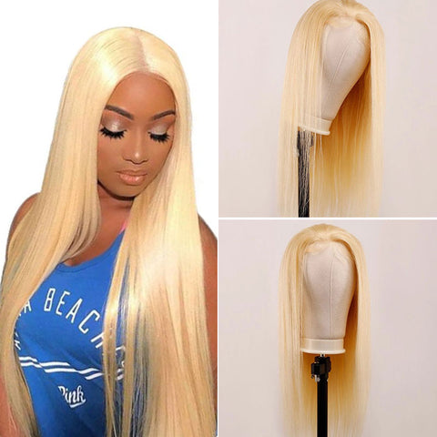 Soul Lady 180% Density Brazilian Straight 613 Honey Blonde 13x4 Frontal Lace Wig