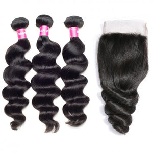 Soul Lady Malaysian Loose Wave Human Hair 3 Bundles With 4x4 Lace Closure