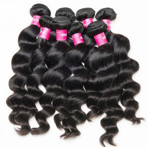 Soul Lady Indian Loose Wave Weave 4x4 Lace Closure With 3 Bundles Deals