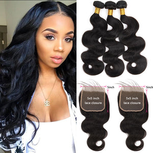 Soullady Peruvian Body Wave 3 Bundles With Closure 5x5 Lace Closure
