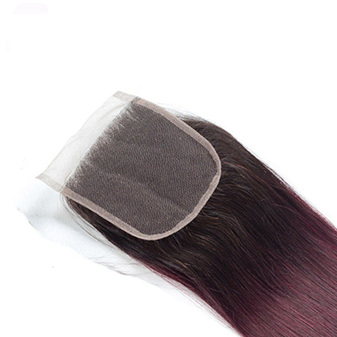 Image of Ombre 1B/99J Straight Indian Human Hair Bundles With Closure 4Pcs/Lot