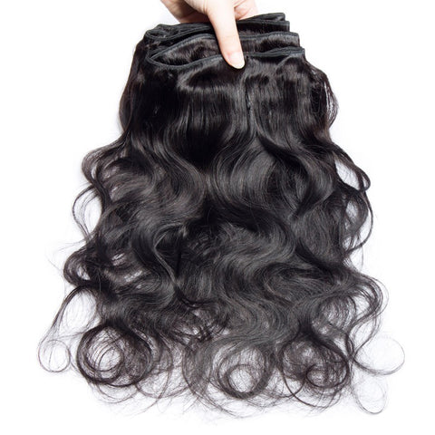 Image of Soul Lady Malaysian Body Wave Free Part  4x4 Transparent Lace Closure With 4 Bundles Hair